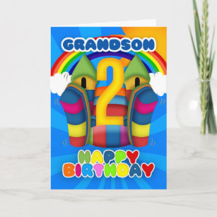 Grandson 2nd Birthday Card With Bouncy Castle