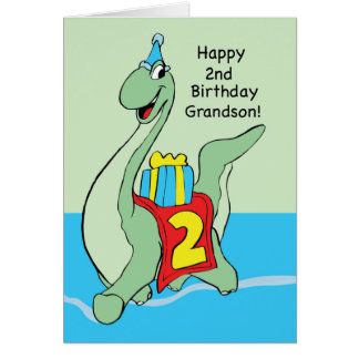 Grandson, 2nd Birthday Dinosaur Card