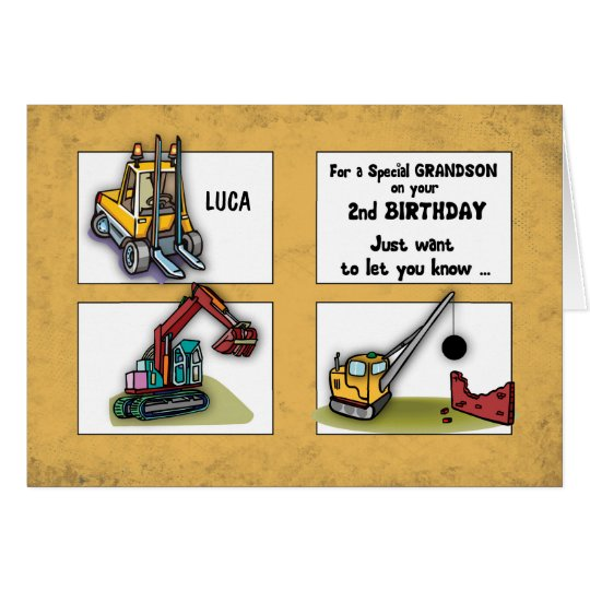 Grandson 2nd Birthday Personalise Name Trucks Card