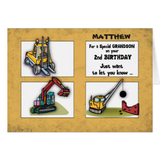 Grandson 2nd Birthday Personalize Name Trucks Card