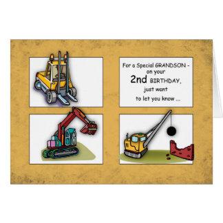 Grandson 2nd Birthday, Trucks Card