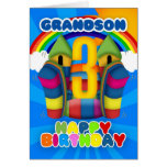 Grandson 3rd Birthday Card With Bouncy Castle