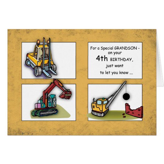 Grandson 4th Birthday, Trucks Card