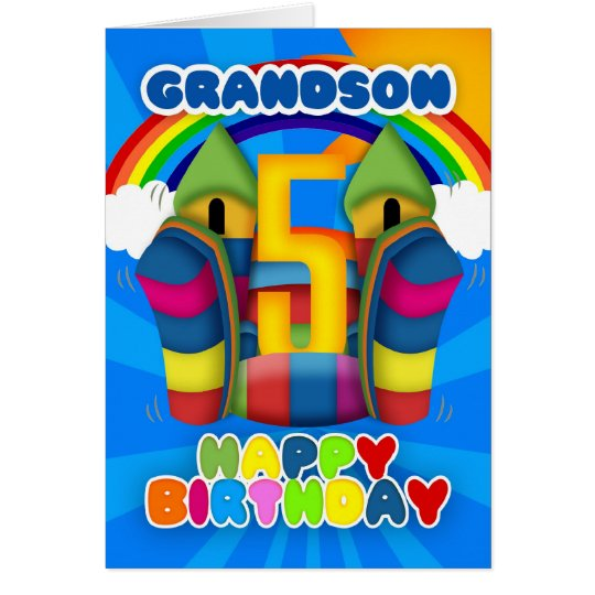 Grandson 5th Birthday Card With Bouncy Castle