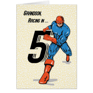 Grandson 5th Birthday Superhero Card
