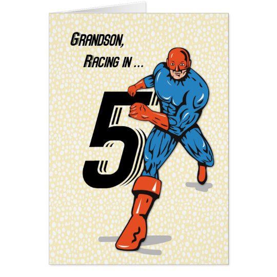 Grandson 5th Birthday Superhero Card