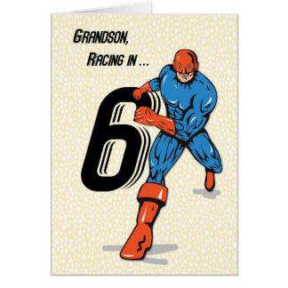 Grandson 6th Birthday Superhero Card