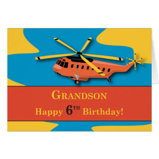 Grandson, 6th Birthday with Helicopter Card