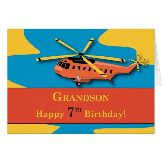 Grandson, 7th Birthday with Helicopter Card
