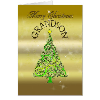 Grandson, a gold effect Christmas card