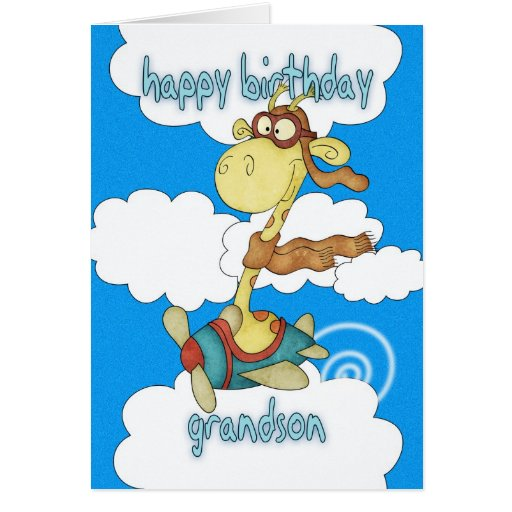 Grandson Aeroplane / Airplane Giraffe Birthday Car Cards