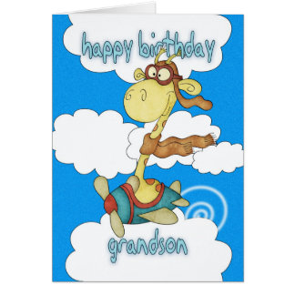 Grandson Aeroplane / Airplane Giraffe Birthday Car Greeting Card