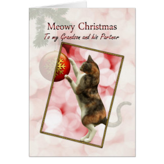 Grandson and his partner, Meowy Christmas Card