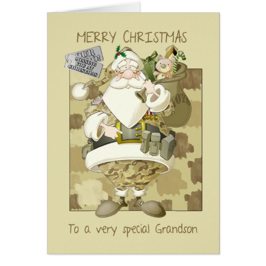 grandson, armed forces military Christmas greeting Card