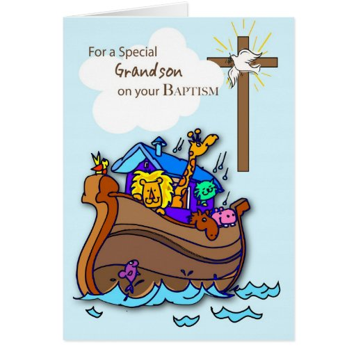 Grandson Baptism Card with Noah's Ark, Blue | Zazzle