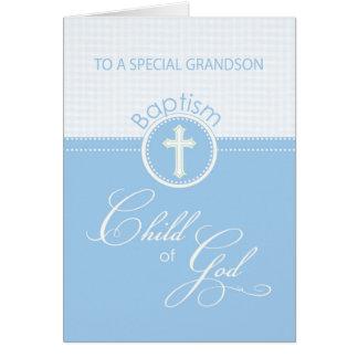 Grandson Baptism Congratulations Blue Child of God Card