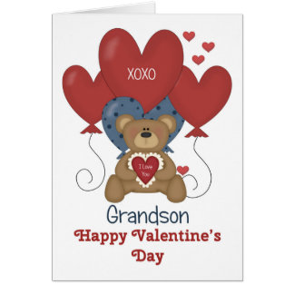 Grandson, Bear and Balloons Valentine Greeting Card