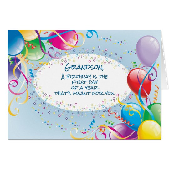 Grandson Birthday Balloons Card