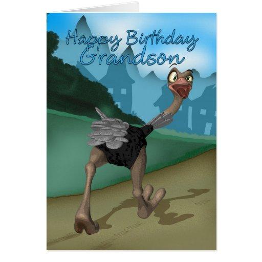 Grandson Birthday Card - Cartoon Ostrich - Digital