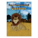 Grandson Birthday Card - Lion And Cub
