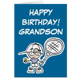 Grandson Birthday card with little tennis boy