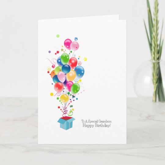Grandson Birthday Cards Colourful Balloons Zazzle Co Uk