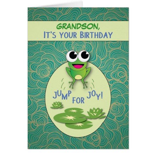 Grandson, Birthday Frog, Custom Name Card