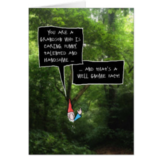 Grandson Birthday, Humorous Gnome in Forest Card