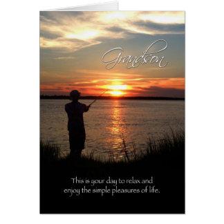Grandson Birthday, Sunset Fishing Silhouette Card