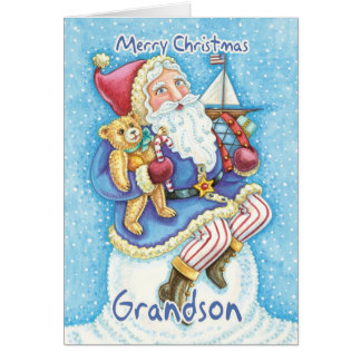 Grandson Christmas Card With Cute Santa And Toys