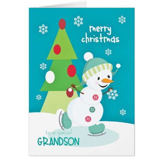 Grandson Christmas Snowman Ice Skating Card