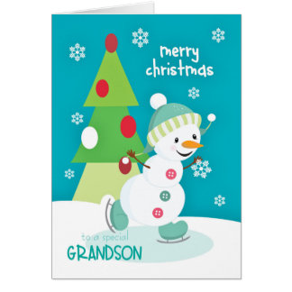 Grandson Christmas Snowman Ice Skating Greeting Card