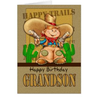 Grandson Cowboy Birthday Card - Rootin Tootin Bi