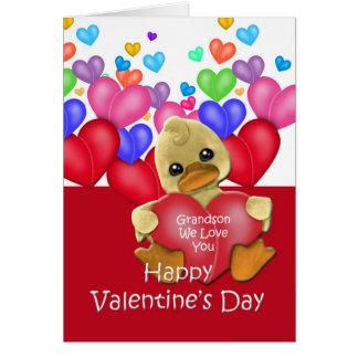Grandson Ducky Valentine Greeting Card