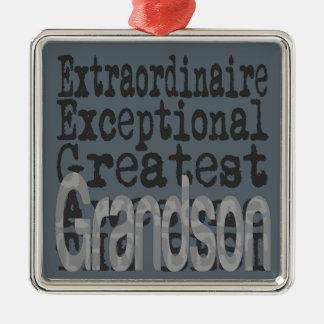 Grandson Extraordinaire Silver-Colored Square Decoration