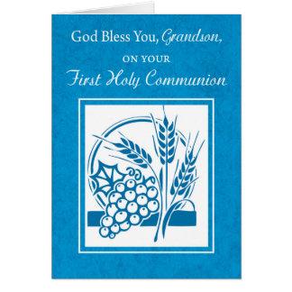 Grandson First Communion Blue, Wheat, Grapes Card