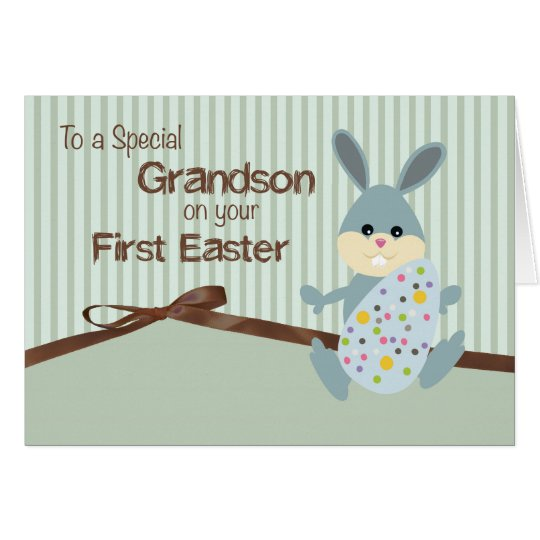 Grandson First Easter, Bunny Ribbon on Stripes Card