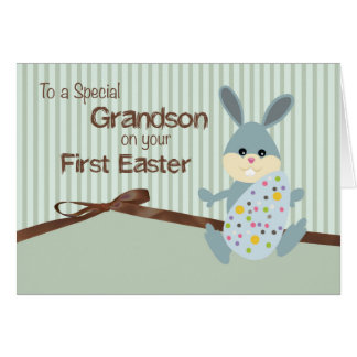 Grandson First Easter, Bunny Ribbon on Stripes Greeting Card