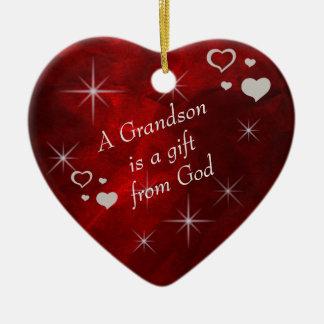 Grandson Gift Heart Keepsake Ceramic Heart Decoration