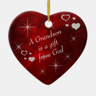Grandson Gift Heart Keepsake Christmas Ornament