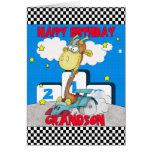 Grandson Giraffe Birthday Card - Racing Giraffe