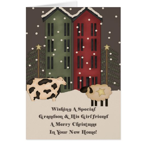 Grandson & Girlfriend 1st Christmas in New Home Greeting Cards