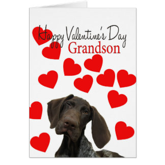 Grandson Glossy Grizzly Valentine Puppy Love Greeting Card