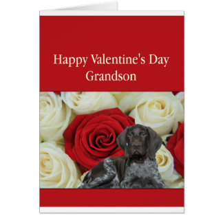 Grandson Glossy Grizzly Valentine Puppy Love Note Card