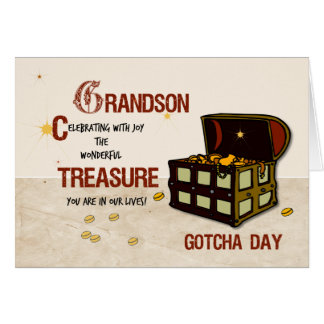 Grandson Gotcha Day with Pirate Treasure Greeting Card