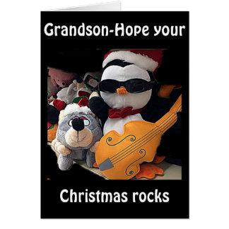 "GRANDSON-H0PE Y0UR CHRITMAS ""R0CKS""-YOU ROCK GREETING CARD"
