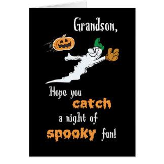 Grandson Halloween Baseball Ghost with Pumpkin Card
