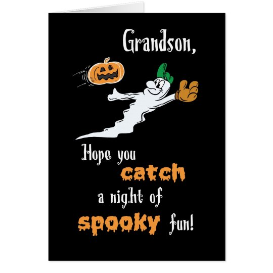 Grandson Halloween Baseball Ghost with Pumpkin Card