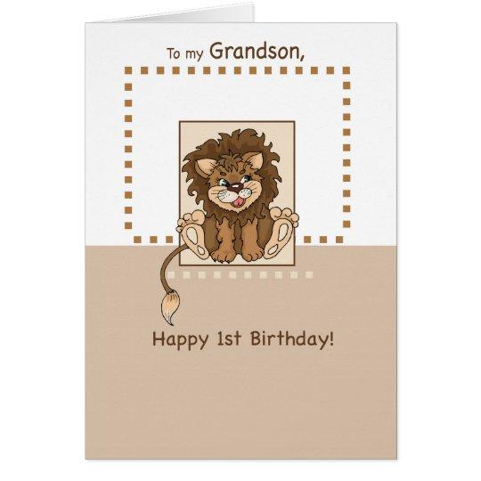 Grandson, Happy 1st Birthday Baby Lion Card
