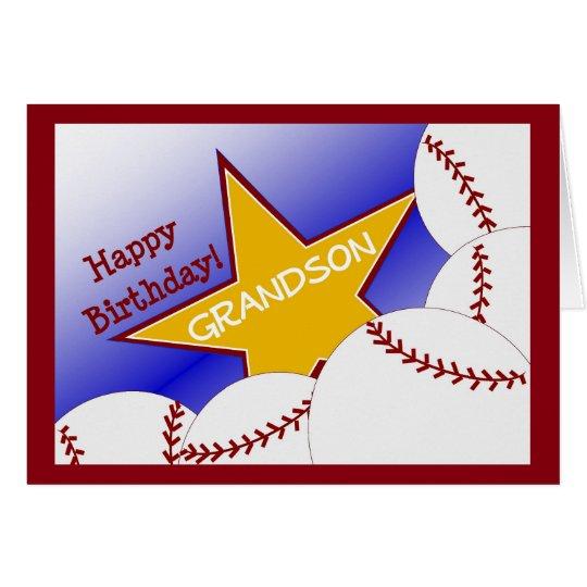 Grandson - Happy Birthday Baseball Loving Grandson Card